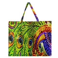 Glass Tile Peacock Feathers Zipper Large Tote Bag
