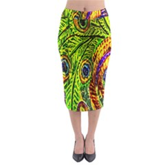 Glass Tile Peacock Feathers Midi Pencil Skirt
