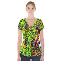Glass Tile Peacock Feathers Short Sleeve Front Detail Top