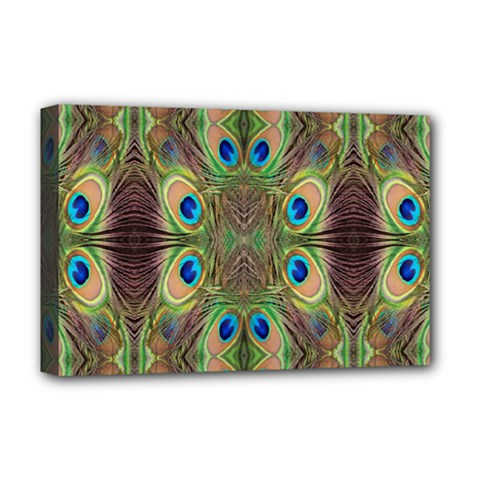 Beautiful Peacock Feathers Seamless Abstract Wallpaper Background Deluxe Canvas 18  x 12