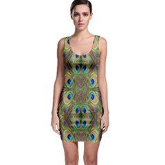 Beautiful Peacock Feathers Seamless Abstract Wallpaper Background Sleeveless Bodycon Dress