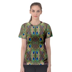 Beautiful Peacock Feathers Seamless Abstract Wallpaper Background Women s Sport Mesh Tee