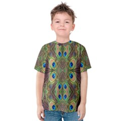 Beautiful Peacock Feathers Seamless Abstract Wallpaper Background Kids  Cotton Tee