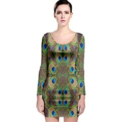 Beautiful Peacock Feathers Seamless Abstract Wallpaper Background Long Sleeve Bodycon Dress