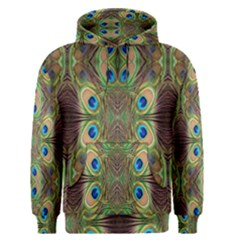 Beautiful Peacock Feathers Seamless Abstract Wallpaper Background Men s Pullover Hoodie