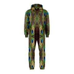 Beautiful Peacock Feathers Seamless Abstract Wallpaper Background Hooded Jumpsuit (Kids)