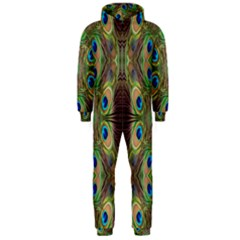 Beautiful Peacock Feathers Seamless Abstract Wallpaper Background Hooded Jumpsuit (men)