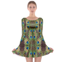 Beautiful Peacock Feathers Seamless Abstract Wallpaper Background Long Sleeve Skater Dress