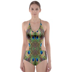 Beautiful Peacock Feathers Seamless Abstract Wallpaper Background Cut-Out One Piece Swimsuit