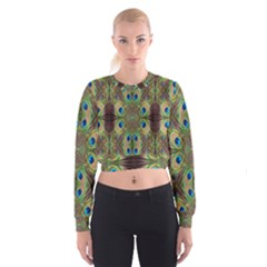 Beautiful Peacock Feathers Seamless Abstract Wallpaper Background Women s Cropped Sweatshirt