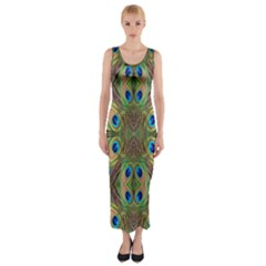 Beautiful Peacock Feathers Seamless Abstract Wallpaper Background Fitted Maxi Dress