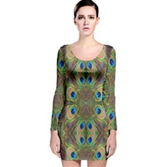Beautiful Peacock Feathers Seamless Abstract Wallpaper Background Long Sleeve Velvet Bodycon Dress