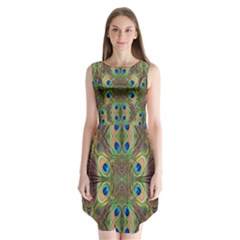 Beautiful Peacock Feathers Seamless Abstract Wallpaper Background Sleeveless Chiffon Dress