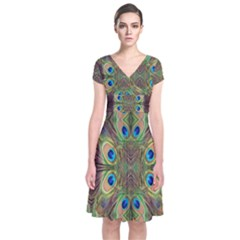 Beautiful Peacock Feathers Seamless Abstract Wallpaper Background Short Sleeve Front Wrap Dress