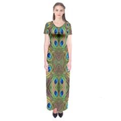 Beautiful Peacock Feathers Seamless Abstract Wallpaper Background Short Sleeve Maxi Dress