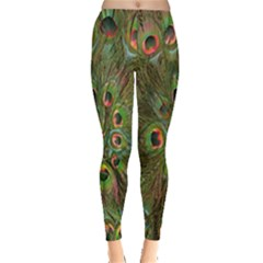 Peacock Feathers Green Background Leggings