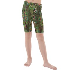Peacock Feathers Green Background Kids  Mid Length Swim Shorts