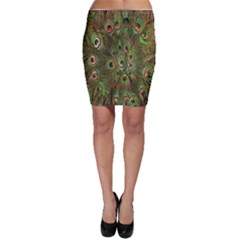 Peacock Feathers Green Background Bodycon Skirt