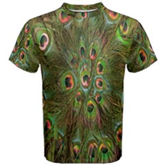 Peacock Feathers Green Background Men s Cotton Tee