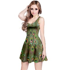 Peacock Feathers Green Background Reversible Sleeveless Dress