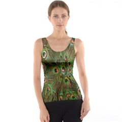 Peacock Feathers Green Background Tank Top