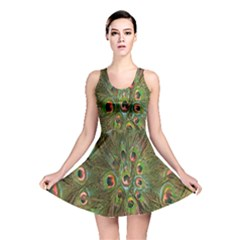 Peacock Feathers Green Background Reversible Skater Dress