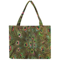 Peacock Feathers Green Background Mini Tote Bag