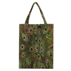 Peacock Feathers Green Background Classic Tote Bag