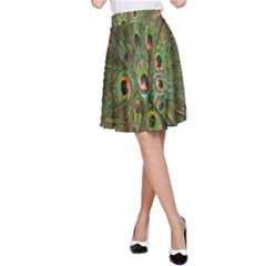 Peacock Feathers Green Background A-Line Skirt