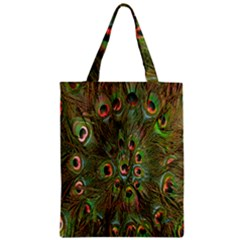 Peacock Feathers Green Background Zipper Classic Tote Bag