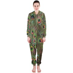 Peacock Feathers Green Background Hooded Jumpsuit (Ladies)