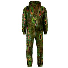 Peacock Feathers Green Background Hooded Jumpsuit (Men)