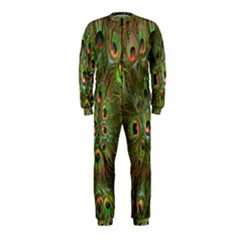 Peacock Feathers Green Background OnePiece Jumpsuit (Kids)