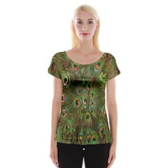 Peacock Feathers Green Background Women s Cap Sleeve Top