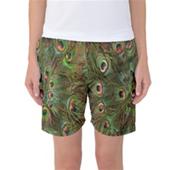 Peacock Feathers Green Background Women s Basketball Shorts