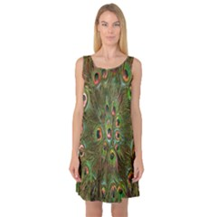 Peacock Feathers Green Background Sleeveless Satin Nightdress