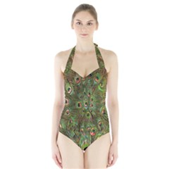 Peacock Feathers Green Background Halter Swimsuit