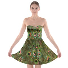 Peacock Feathers Green Background Strapless Bra Top Dress
