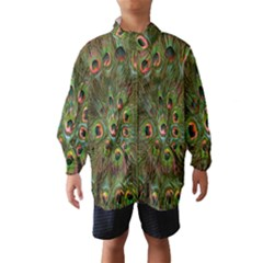 Peacock Feathers Green Background Wind Breaker (kids)