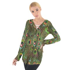 Peacock Feathers Green Background Women s Tie Up Tee
