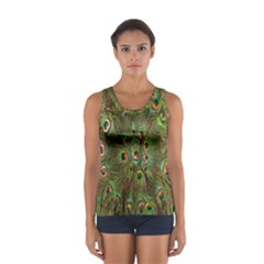 Peacock Feathers Green Background Women s Sport Tank Top