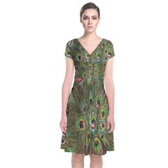 Peacock Feathers Green Background Short Sleeve Front Wrap Dress