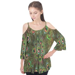 Peacock Feathers Green Background Flutter Tees