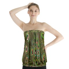 Peacock Feathers Green Background Strapless Top
