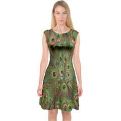 Peacock Feathers Green Background Capsleeve Midi Dress