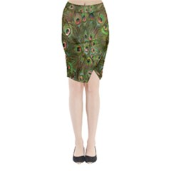 Peacock Feathers Green Background Midi Wrap Pencil Skirt