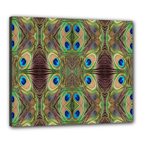 Beautiful Peacock Feathers Seamless Abstract Wallpaper Background Canvas 24  X 20