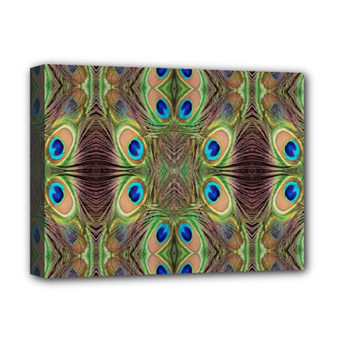 Beautiful Peacock Feathers Seamless Abstract Wallpaper Background Deluxe Canvas 16  x 12