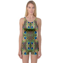 Beautiful Peacock Feathers Seamless Abstract Wallpaper Background One Piece Boyleg Swimsuit