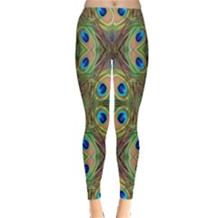 Beautiful Peacock Feathers Seamless Abstract Wallpaper Background Leggings